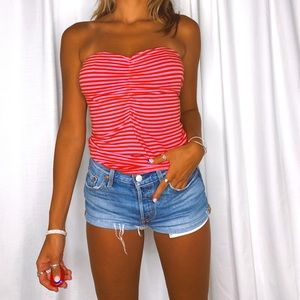 h&m red and pink small tube top